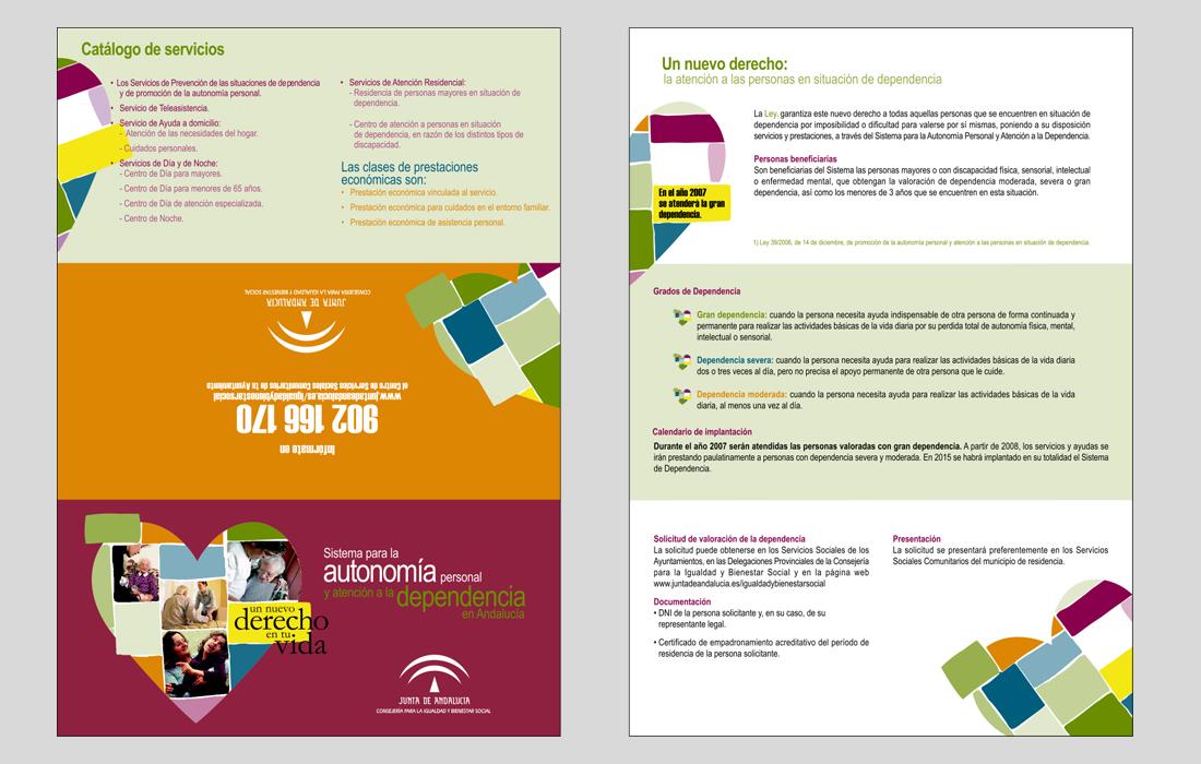 Trítico Campaña Ley de la dependencia. Junta de Andalucía