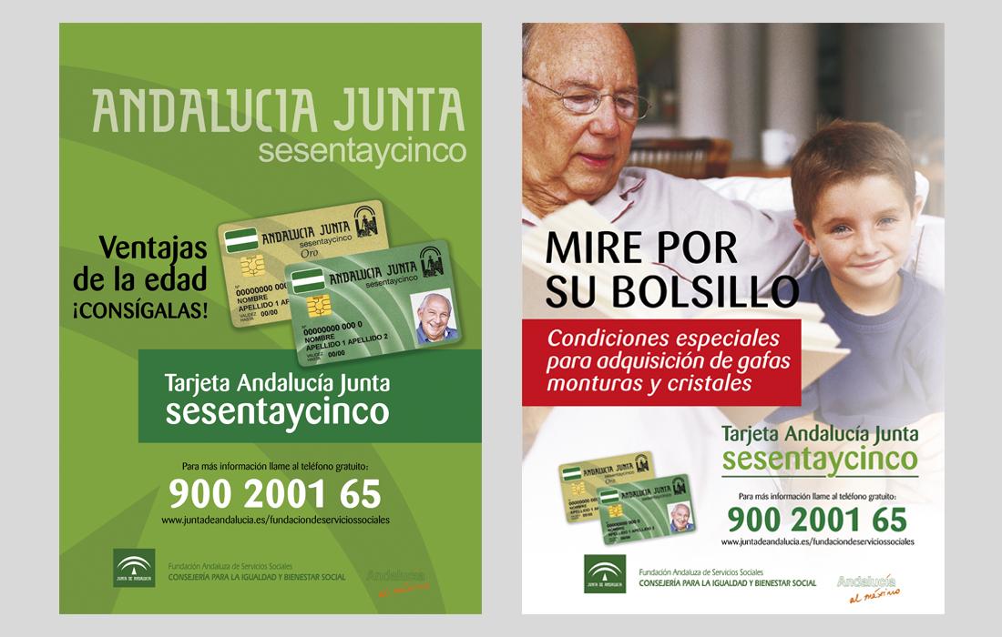 Cartelería  genérica y Adquisición de gafas. Tarjeta Sesentaycinco. Junta de Andalucía