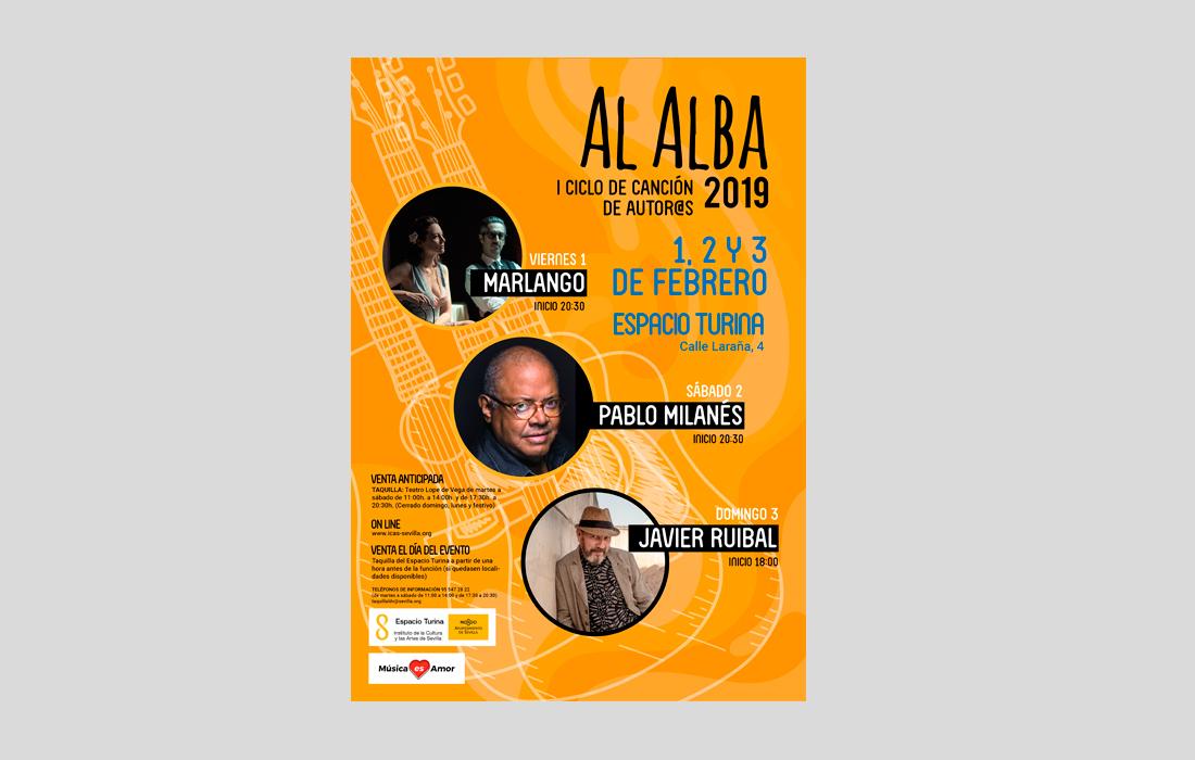 """Diseño del Cartel para I Ciclo de Canción de Cantautor@s de Sevilla """"Al Alba"""""""